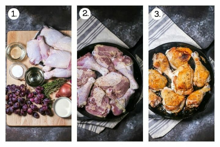Step by step photos showing how to make Braised Chicken with Grapes. Gather the ingredients (1), brown the chicken (2), flip and brown on the other side, then remove from the pan (3).