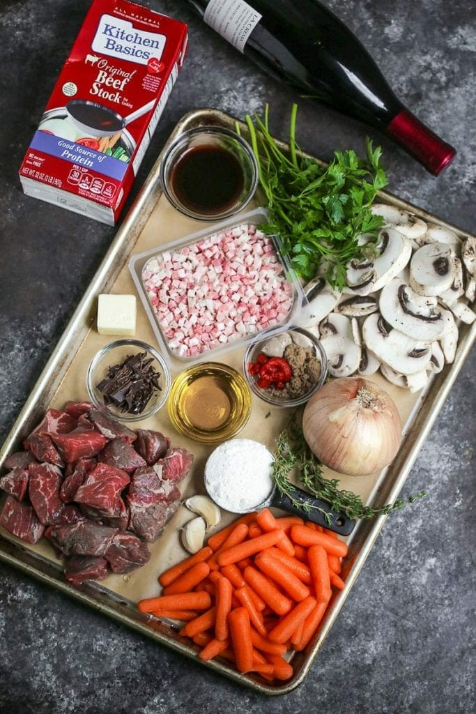 Gather ingredients for Beef Bourguignon including beef, stock, wine, pancetta, and vegetables.