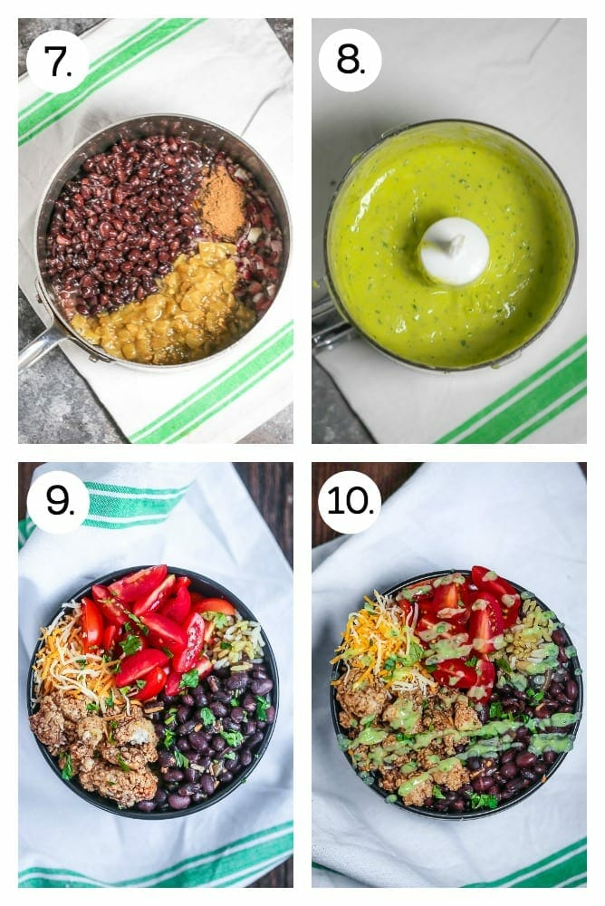 Step by set instructions on how to make Chicken Burrito Bowls with Avocado Dressing. Add the beans and chiles to the shallot (7), Blend the avocado dressing (8), put the ingredients together in the bowl (9), drizzle the the avocado dressing (10).