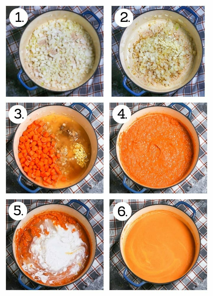 Step by step instructions on how to make carrot ginger soup. Saute onion (1), add garlic (2), add carrots, ginger, spices and stock (3), Simmer, cook and puree (4), stir in coconut milk (5), puree until smooth (6).