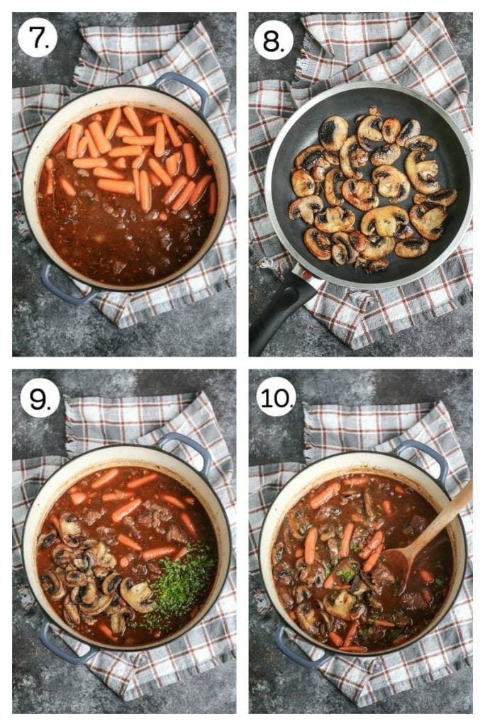 Step by step instructions on how to make Beef Bourguignon. Add the carrots (7), separately saute the mushrooms and reserve (8), stir in the mushrooms and herbs make (9), simmer until warmed through (10).