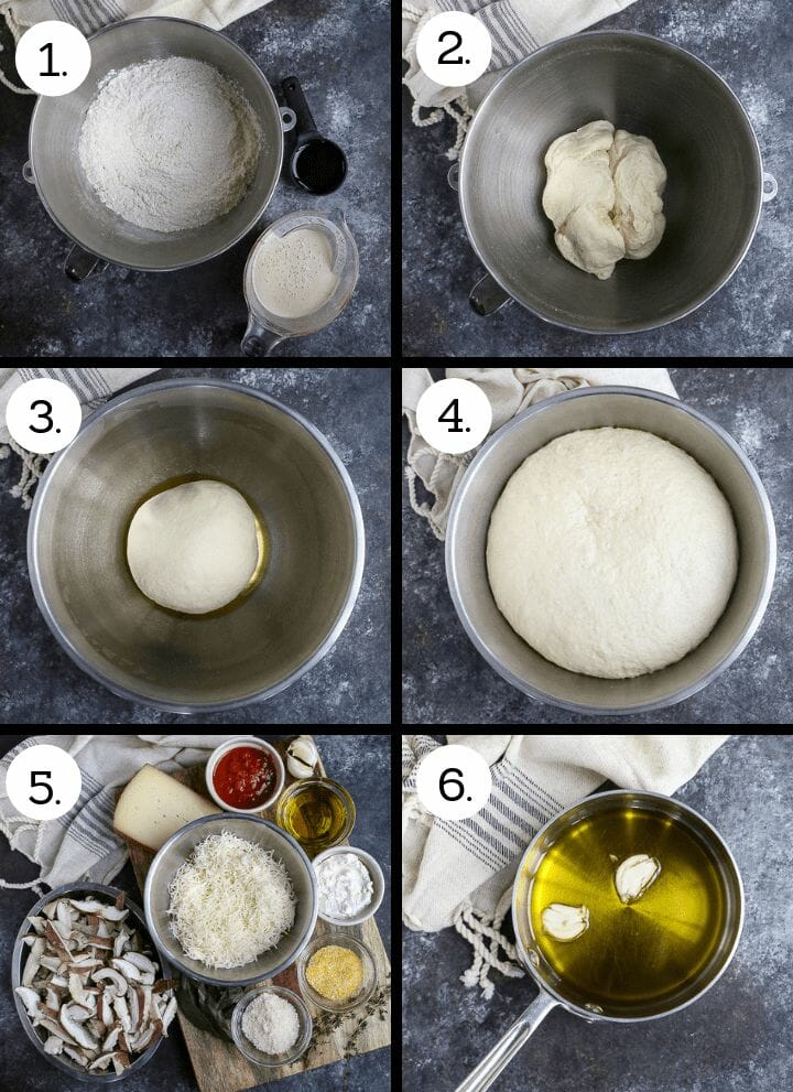Step by step photos on how to make Cast Iron Skillet Pizza. Gather the ingredients for the dough (1), mix the dough (2). knead the dough and place in an oiled bowl (3), Allow the dough to rise until doubled (4), gather the toppings (5), make the garlic oil (6).