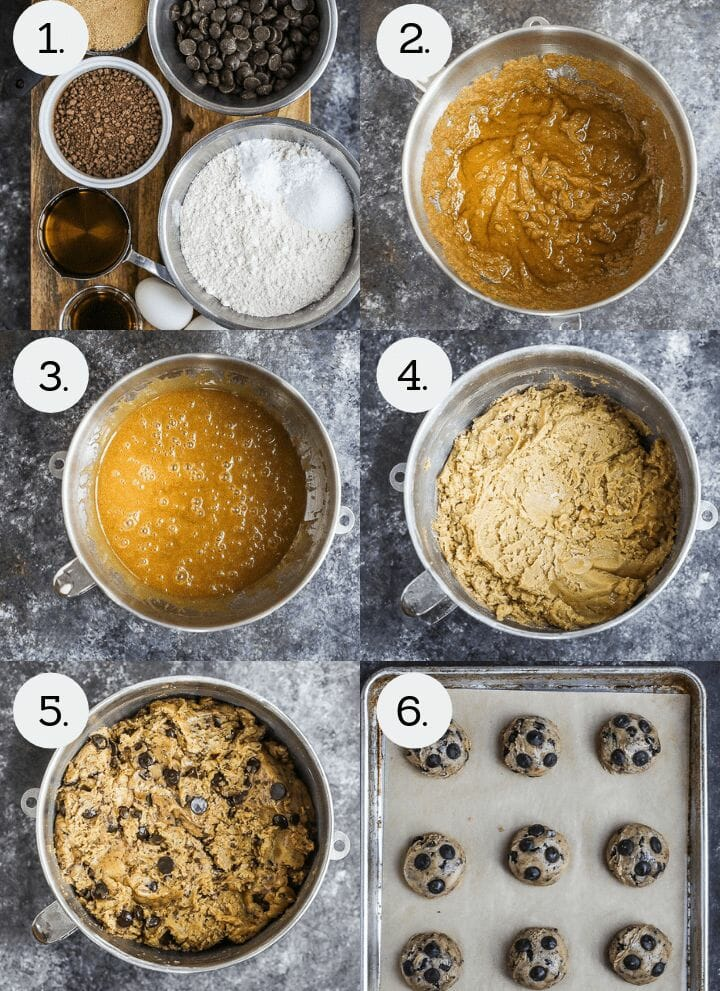 Step by step photos on how to make Olive Oil Chocolate Chip Cookies. Gather ingredients (1), beat the sugar and olive oil (2), add the eggs (3), mix in the dry ingredients (4), mix in the grated chocolate and chocolate chips (5), portion out cookies onto a sheet tray and chill (6).