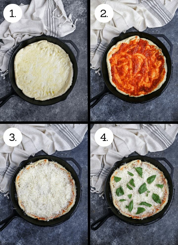 Step by step photos on how to make Cast Iron Skillet Pizza. Roll or stretch the dough and place in the bottom of the skillet (1), spread the sauce on the dough (2), spread the cheese over the cheese over the sauce (3), scatter the fresh basil over the cheese and bake (4).