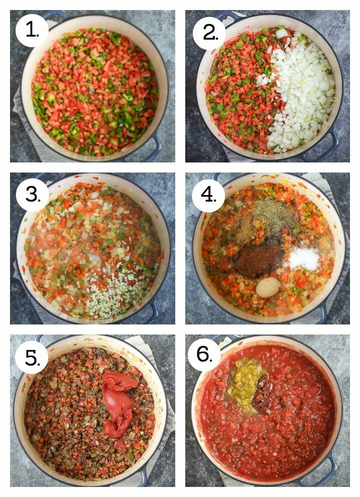 Step by step instructions on how to make hearty vegetarian chili. Saute carrots and peppers (1), add the onion (2), add the garlic (3), stir in the spices (4), stir in the tomato paste (5), add the tomatoes, stock. chiles and chipotle (6).