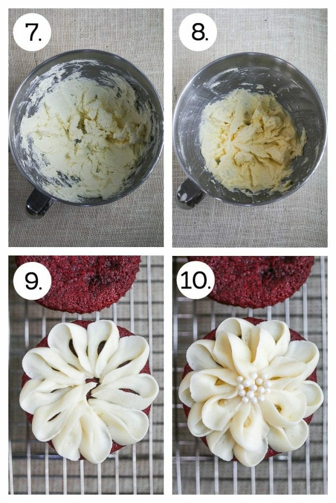 Step by step instructions on how to make red velvet cupcakes. Combine butter and cream cheese for icing (7), mix in confectioners sugar and vanilla (8), pipe the first level of petals for the flower design (9). pipe the second layer of petals and finish with pearl sprinkles (10).