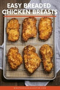 Stockpile these juicy, easy breaded chicken breasts for an fast weeknight dinner. They are extra tender and tasty thanks to a buttermilk marinade and a crispy parmesan panko crust. This will be one of your favorite go-to recipes!