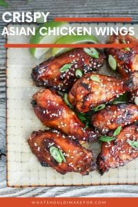 Sticky, sweet, spicy, and crispy Asian chicken wings are perfect party fare! They're marinated to be extra tasty and juicy and baked in the oven to be extra easy!