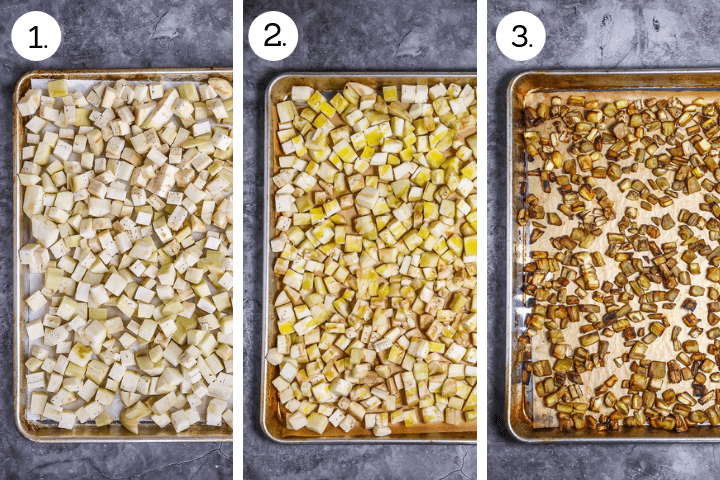 Step by step photos showing how to make Roasted Eggplant Pasta. Peel and cube eggplant, salt and drain (1), drizzle with olive oil (2), roast until golden brown, about 35 mins (3).