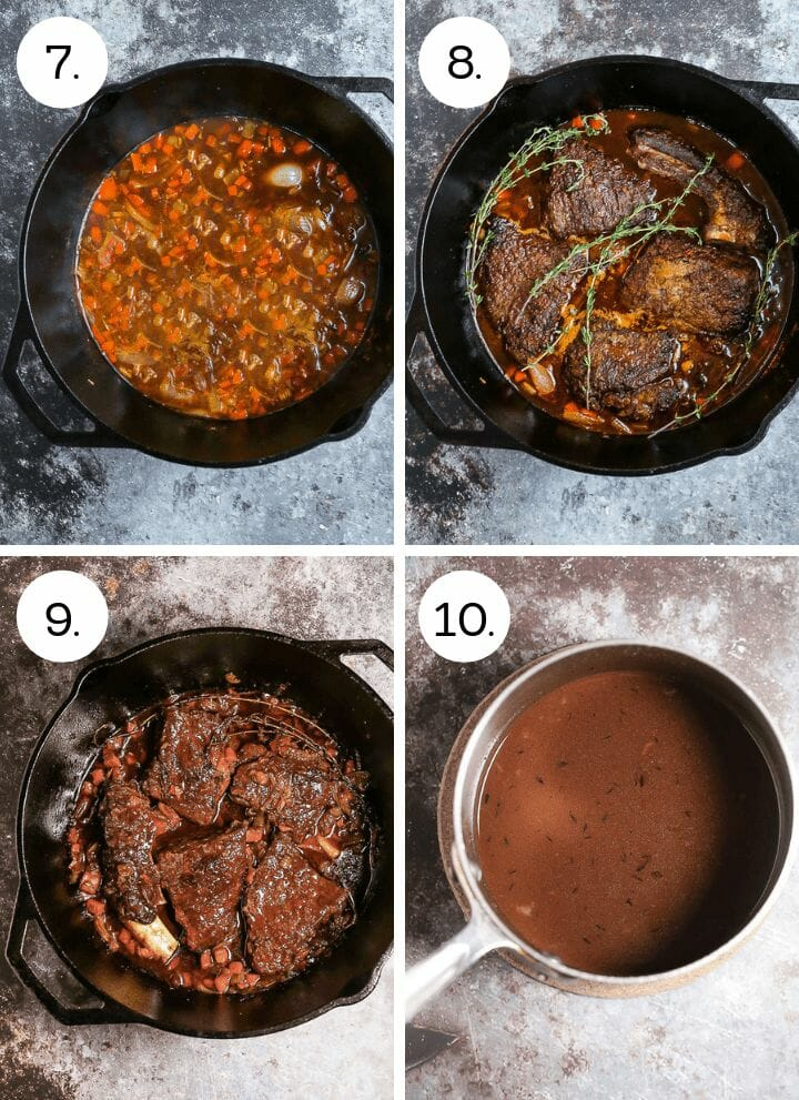 Step by step photos showing how to make Irish Whiskey Braised Short Ribs. Deglaze with Irish whiskey and then add stock (7), add the short ribs and herbs to the pan (8), braise in the oven until tender (9), strain the sauce and skim the fat (10).