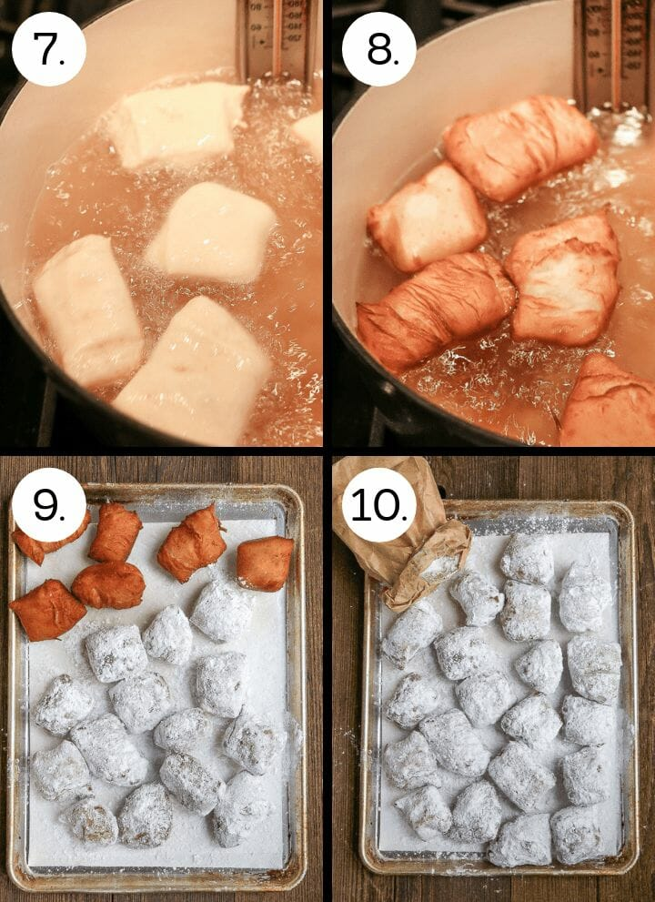 Step by step photos showing how to make New Orleans Beignets. Drop the dough squares into the hot oil (7), flip the square and cook until golden brown (8) remove the fried beignets to a paper towel lined sheet tray to drain (9), shake in powdered sugar and serve (10).