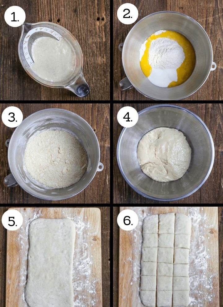 Step by step photos showing how to make New Orleans Beignets. Whisk the yeast into warm milk (1) combine flour, sugar and eggs (2), beat the flour, sugar and eggs together (3) add the yeast mixture and mix with a dough hook. turn out into an oiled bowl (4), once risen, roll or stretch into a rectangle (5), cut into 2 inch squares (6).
