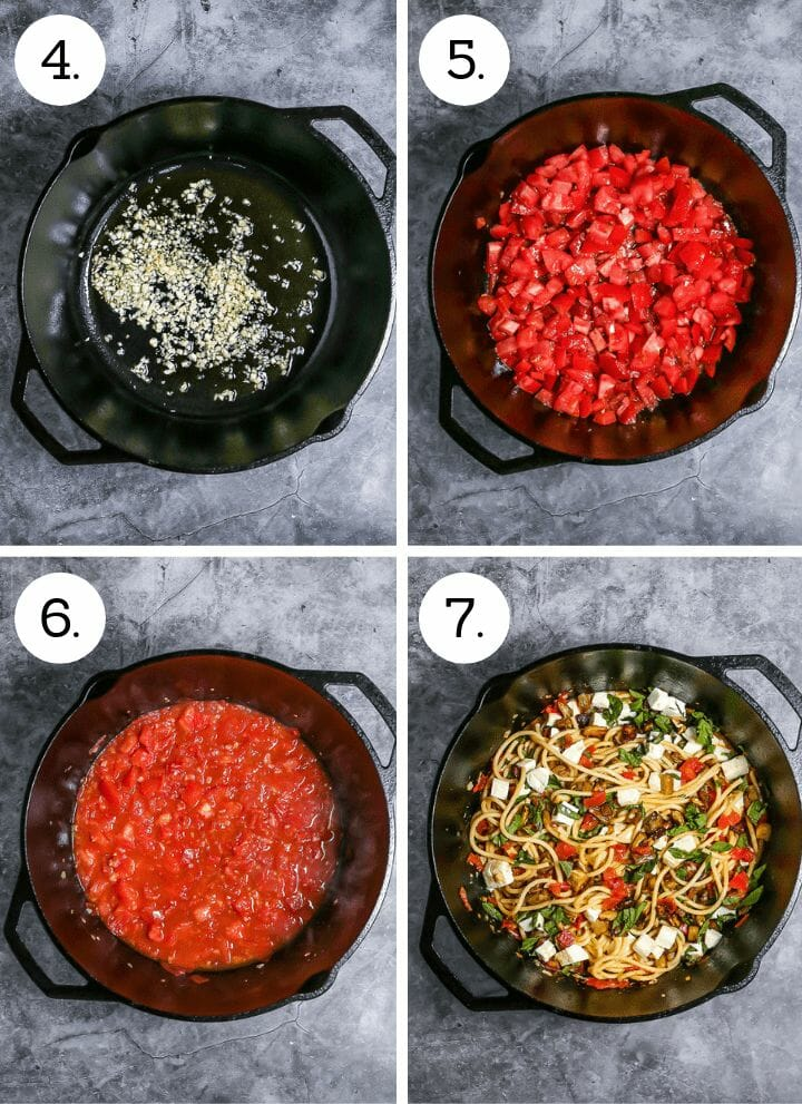 Step by step photos showing how to make Roasted Eggplant Pasta. Saute garlic (4), add the diced tomatoes (5), stir in the wine, water and seasonings (6), add the pasta, eggplant, cheese and basil (7).