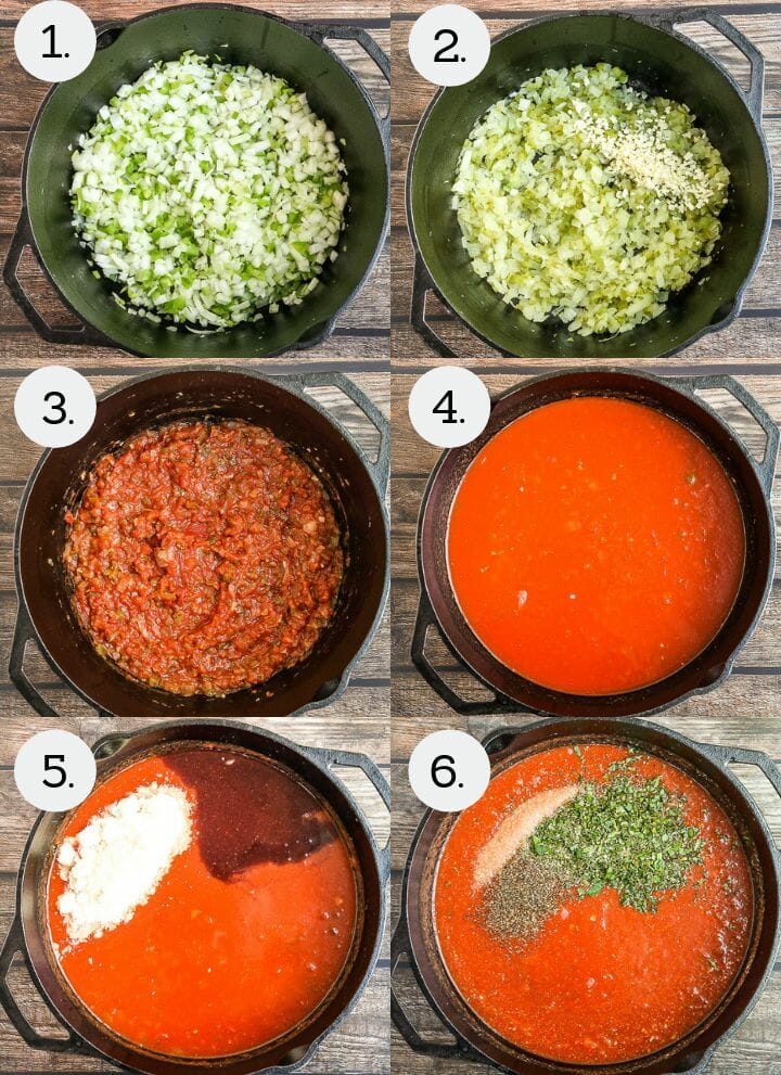 Step by step photos showing how to make Sunday Sauce and Meatballs. Saute the onion and peppers (1), stir in the garlic (2), Mix in the tomato paste (3), add the tomato puree and water (4), mix in the wine and parm (5), add the sugar, herbs and seasonings (6).