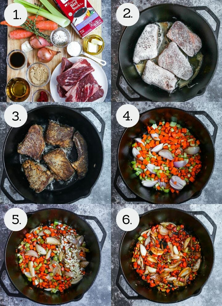 Step by step photos showing how to make Irish Whiskey Braised Short Ribs. Gather ingredients (1), dredge the short ribs in flour and brown on one side (2), flip and brown the remaining sides (3), remove short ribs and add vegetables to the pan (4), mix in the garlic (5), add the sugar and sauces (6).