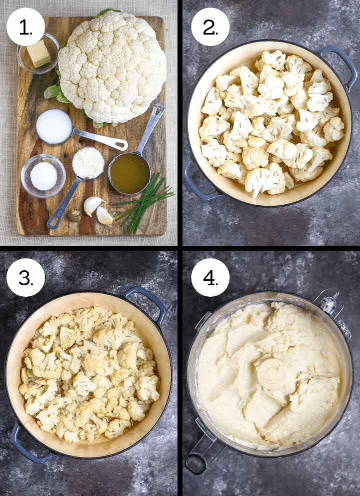 Step by step photos showing how to make Creamy Cauliflower Mash. Gather ingredients (1), place cauliflower florets in a pot with a little stock (2) cook until softened and drain (3) puree in a food processor with remaining ingredients (4).