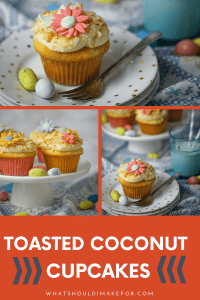 These sweet little toasted coconut cupcakes will be the perfect addition to your Easter celebration. Made from scratch and packed with coconut, they are topped off with a swirl of cream cheese icing with a toasted coconut crunch.