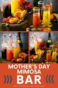 Celebrate Mom with a sparkly, bubbly and festive mimosa bar this Mother's Day! Serve the best champagne mimosas for brunch with a selection of juices and fruits!
