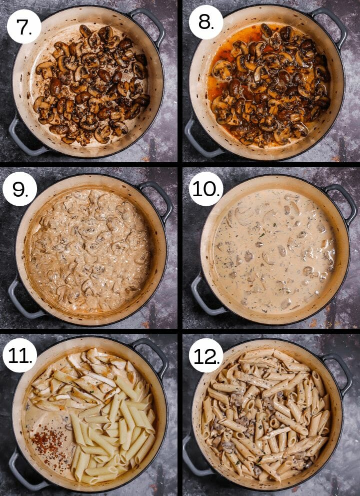 Step by step photos of how to make Creamy Goat Cheese Pasta with Chicken and Mushrooms. Saute the mushrooms (7), deglaze with white wine (8), mix in the goat cheese (9), stir in the pasta water and cream (10), mix in the chicken, pasta and pancetta (11), stir int the herbs and serve (12).