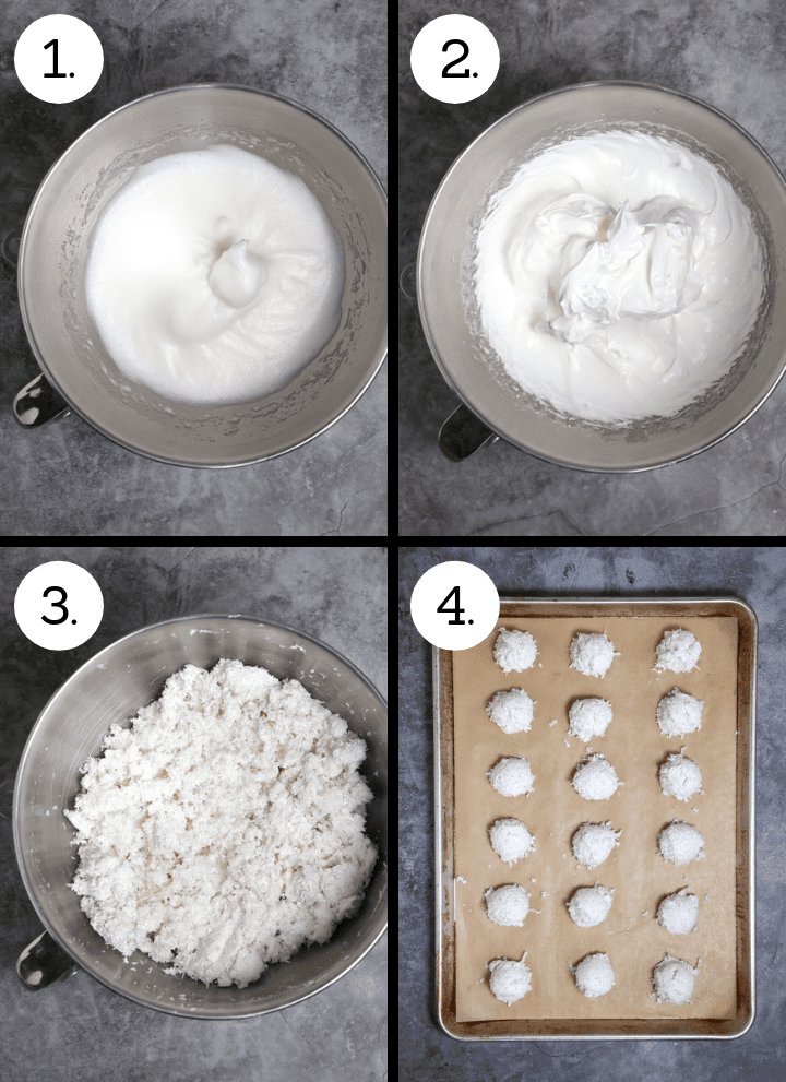 Step by step photos showing how to make coconut macaroons. Whip the egg whites to soft peaks (1), add the sugar and whip to stiff peaks (2), Fold in the coconut (3), scoop onto a sheet tray and bake (4).