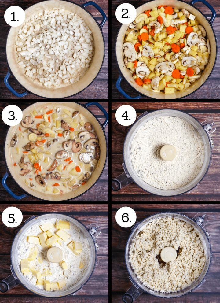 Step by step photos showing how to make Vegetable Pot Pie with Biscuit Topping. Saute the onions (1), add the vegetables to the pot (2), add the cream and stock (3), add the dry ingredients for the biscuit topping to a food processor (4), cut in the butter (5), add the cream and process just until blended (6).