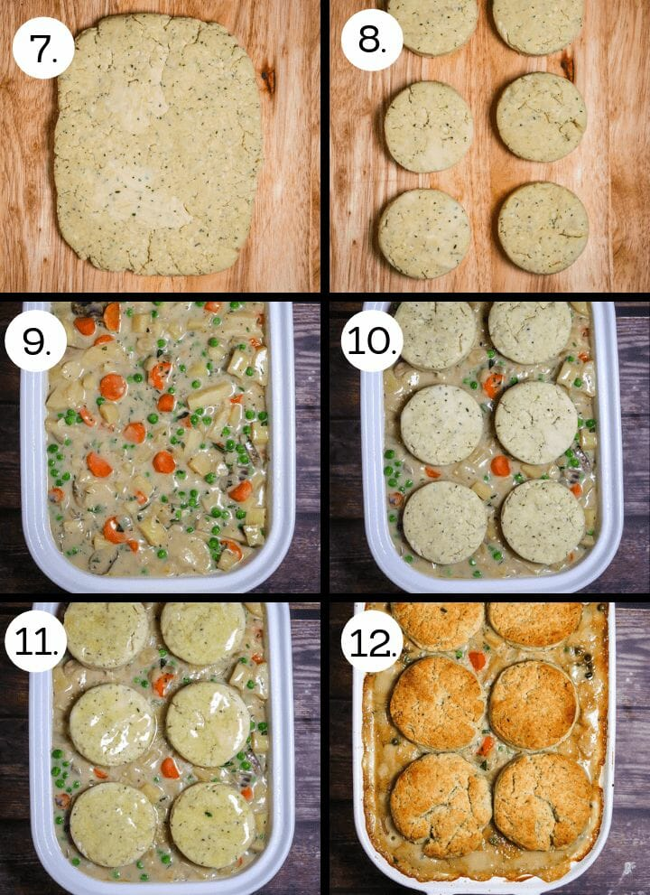 Step by step photos showing how to make Vegetable Pot Pie with Biscuit Topping. Roll out the biscuit dough (7), cut out biscuit rounds (8), pour the vegetable stew into the baking dish (9), place the biscuit rounds on top (10), brush the biscuits with melted butter (11), bake until biscuits are golden brown and stew is bubbling (12).