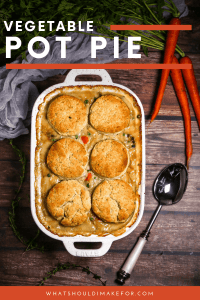Loaded with veggies, this savory vegetable pot pie is topped with flaky herb biscuits and baked in a casserole for easy serving. Chicken need not apply.