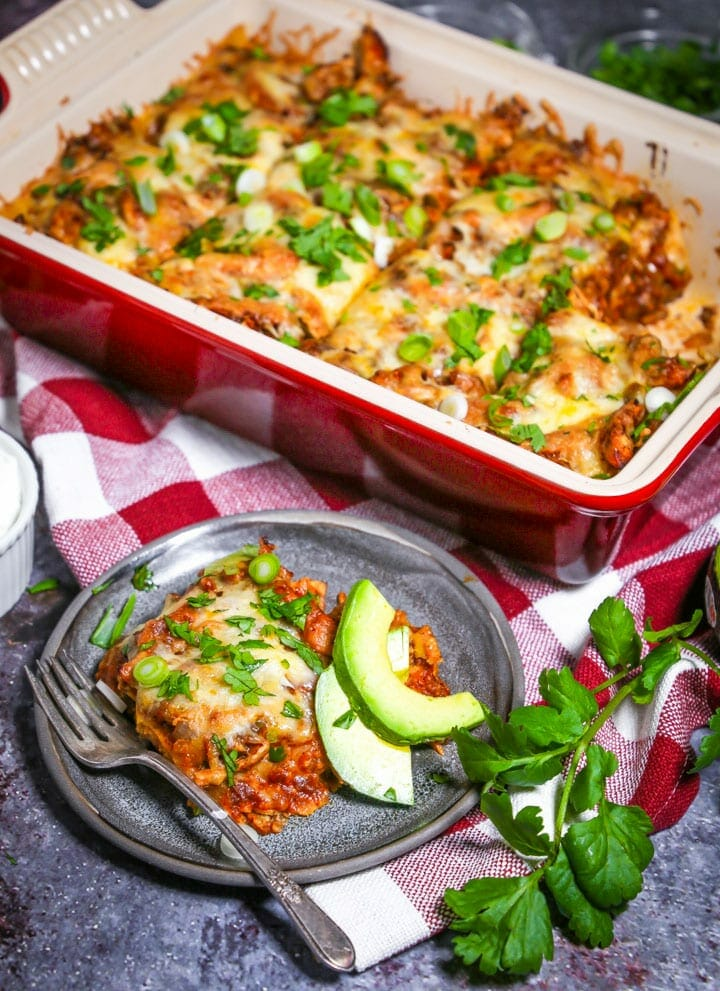 This easy chicken enchilada casserole has everything you love about the classic, but comes together in a snap. Bonus points for the blow-your-mind homemade enchilada sauce!