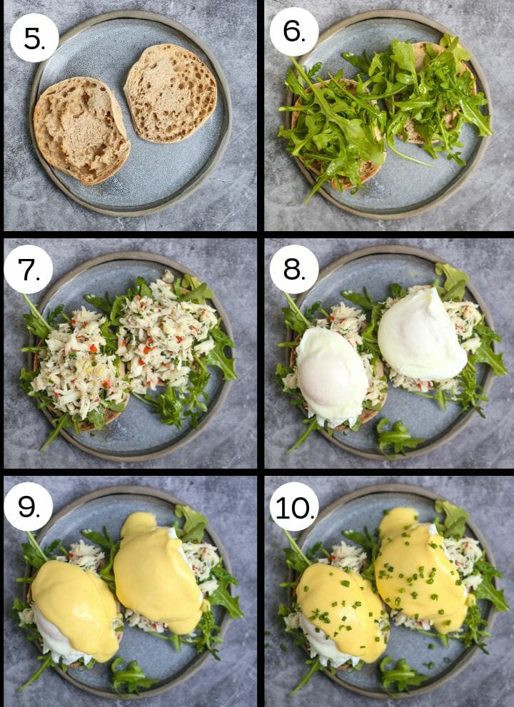 Step by step photos of how to make Crab Eggs Benedict. Split and toast the english muffins (5) top with arugula (6), top with crab salad (7), top with poached eggs (8), tops with hollandaise sauce (9), sprinkle with chives (10).