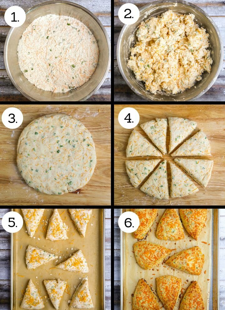 Step by step photos showing how to make Cheddar Chive Scones. Combine dry ingredients (1St), stir in heavy cream sauce (2), form into a circle on board (3), divide into 8 wedges (4), place on a cookie sheet and sprinkle with cheese and salt (5) bake until golden potatoes are (and 6).
