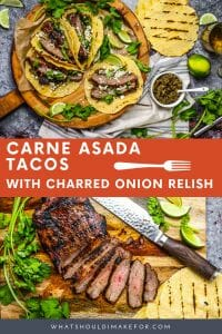 These carne asada tacos are marinated, grilled, sliced, and served in a soft corn tortilla with cojita cheese and charred onion relish. Make extra...they're addictive!