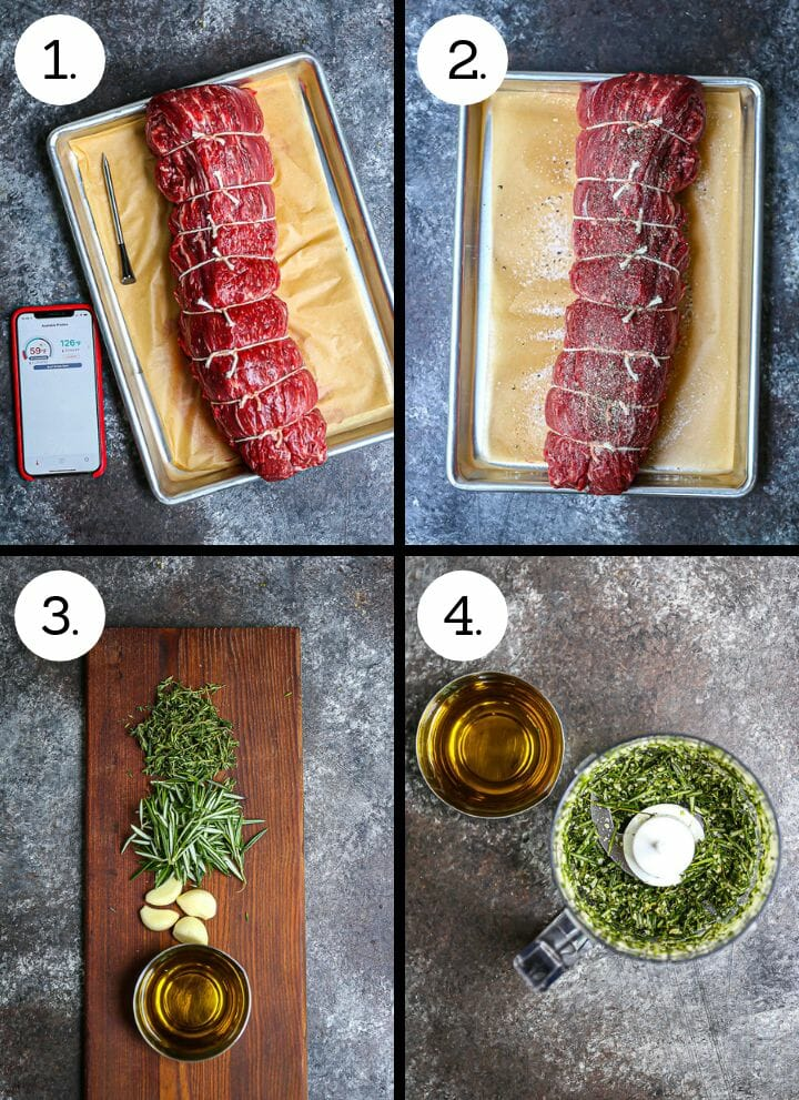 Step by step photos showing how to make Herb Crusted Grilled Beef Tenderloin. Tie the beef tenderloin (1), Season with salt and pepper (2), gather the ingredients for the herb crust (3), blend the herbs (4).