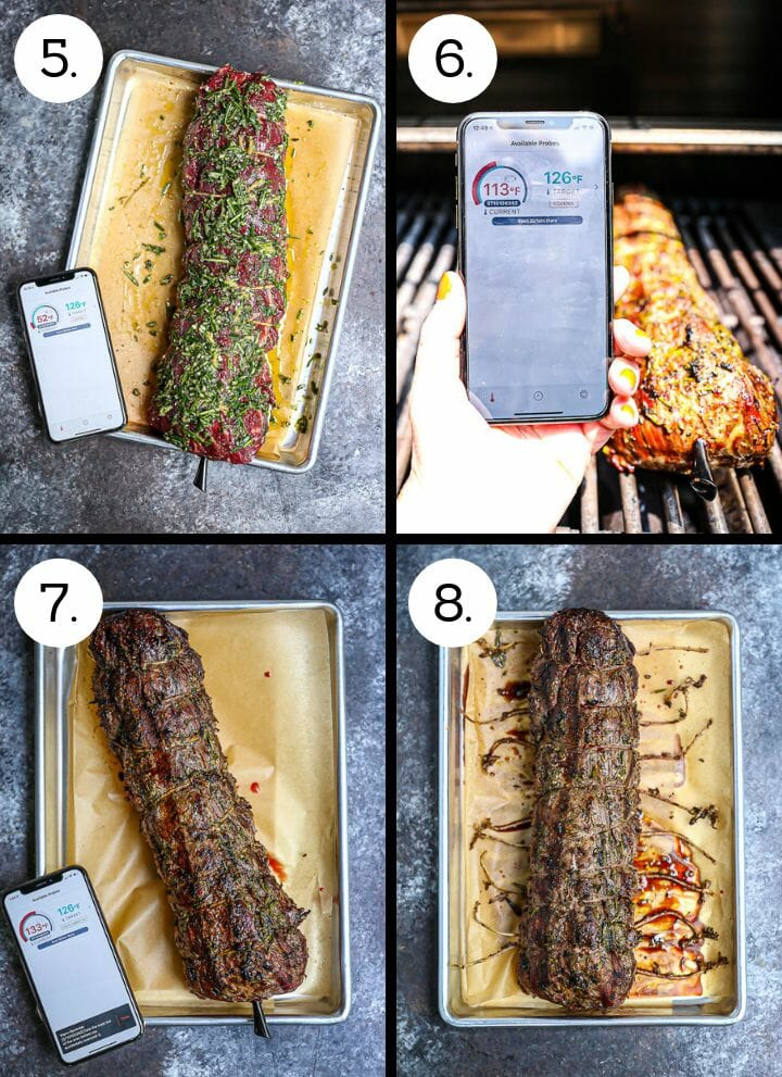 Step by step photos showing how to make Herb Crusted Grilled Beef Tenderloin. Spread the herb mix over the beef (5) grill (6), let the meat rest (7), cut the ties and carve (8).