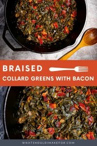 Eat your greens. Better yet, eat your braised collard greens with bacon..smoky, savory, with a hint of sweet and a touch of heat!