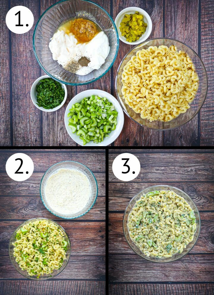 Step by step photos showing how to make classic macaroni salad. Gather ingredients (1), combine ingredients (2), mix everything together (3).