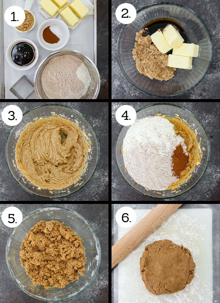 Step by step photos showing how to make Homemade Graham Crackers. Gather ingredients (1), combine butter and sugar (2), cream together (3), add dry ingredients (4), mix together (5), form into a disc to roll (6).