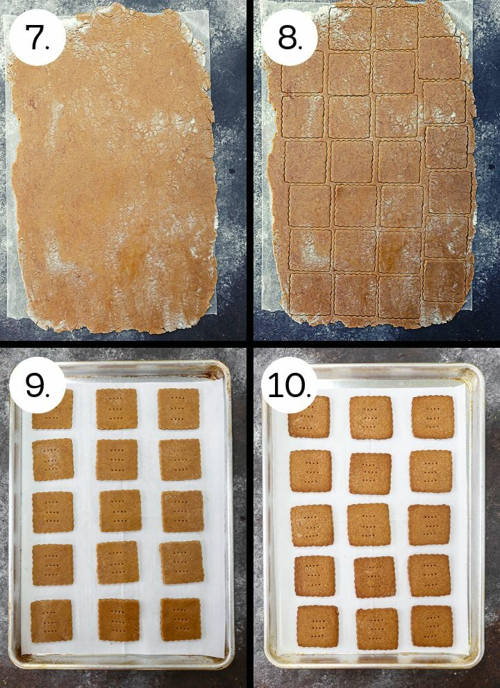 Step by step photos showing how to make Homemade Graham Crackers. Roll out dough (7), cut out crackers (8), place on a parchment lined baking sheet (9), bake until golden (and 10).
