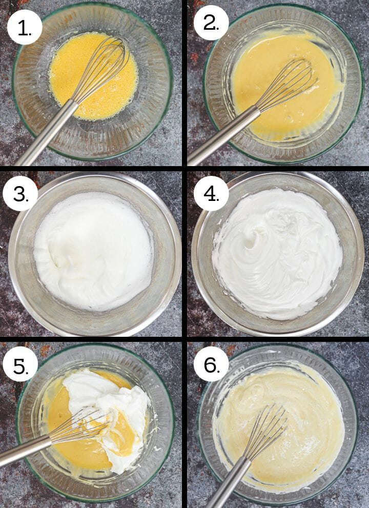 How to make Fluffy Japanese Pancakes. Mix egg yolks and sugar (1), add dry ingredients (2), whip egg whites (3), add sugar and beat until stiff (4), whisk is one third meringue (5), whisk in 2nd third meringue (6).