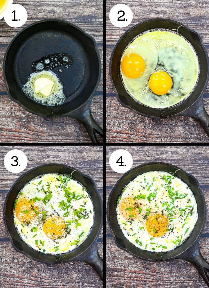 Step by step photos showing how to make Skillet Baked Eggs. Heat skillet and add the butter (1), crack the eggs and add to the pan (2), add the cream, parm and herbs (3), bake until set with runny yolks (4).