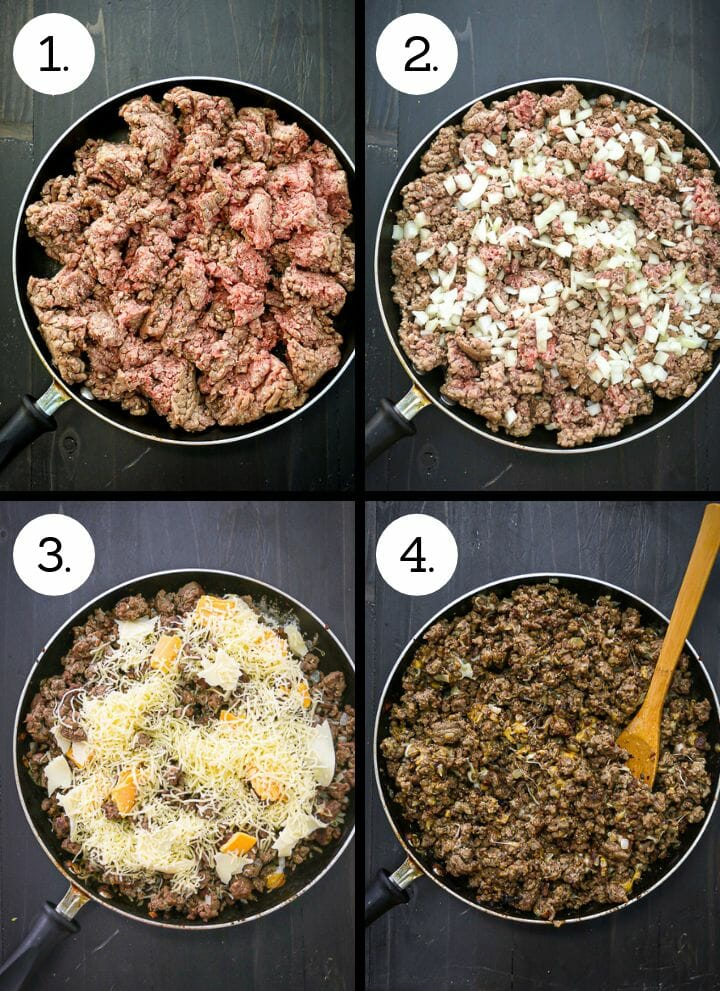 Step by step photos showing home to make the best Cheeseburger Sub. Add the ground beef to the pan (1), add the onion (2), brown and add the cheese (3), mix until melted (4)