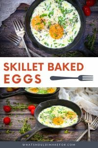 Individual skillet baked eggs with thyme and Parmesan cheese make an elegant and cozy breakfast.