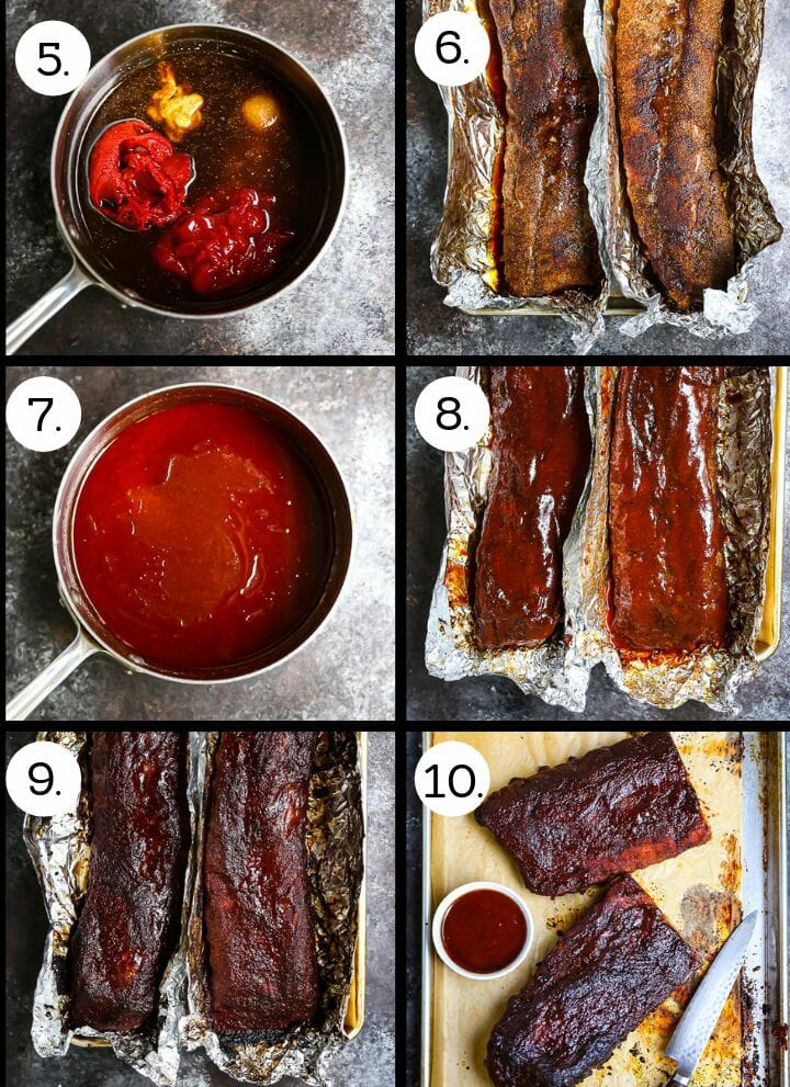 Step by step photos showing how to make Baby Back Ribs with Bourbon BBQ Sauce. Combine the ingredients for the sauce (5), roast the ribs (6) pour the drippings in the sauce and (7), coat the ribs with the sauce (8), continue roasting (9) cut and serve with the sauce (10).