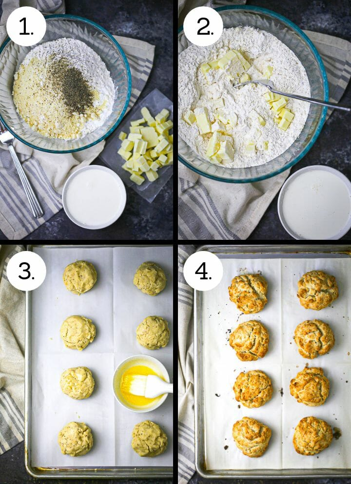 """Step by step photos showing how to make Tomato """"Shortcake"""" with Whipped Ricotta. Assemble the biscuit ingredients (1), make the biscuit dough (2), drop the biscuit on the sheet pan (3), bake the biscuits (4)."""