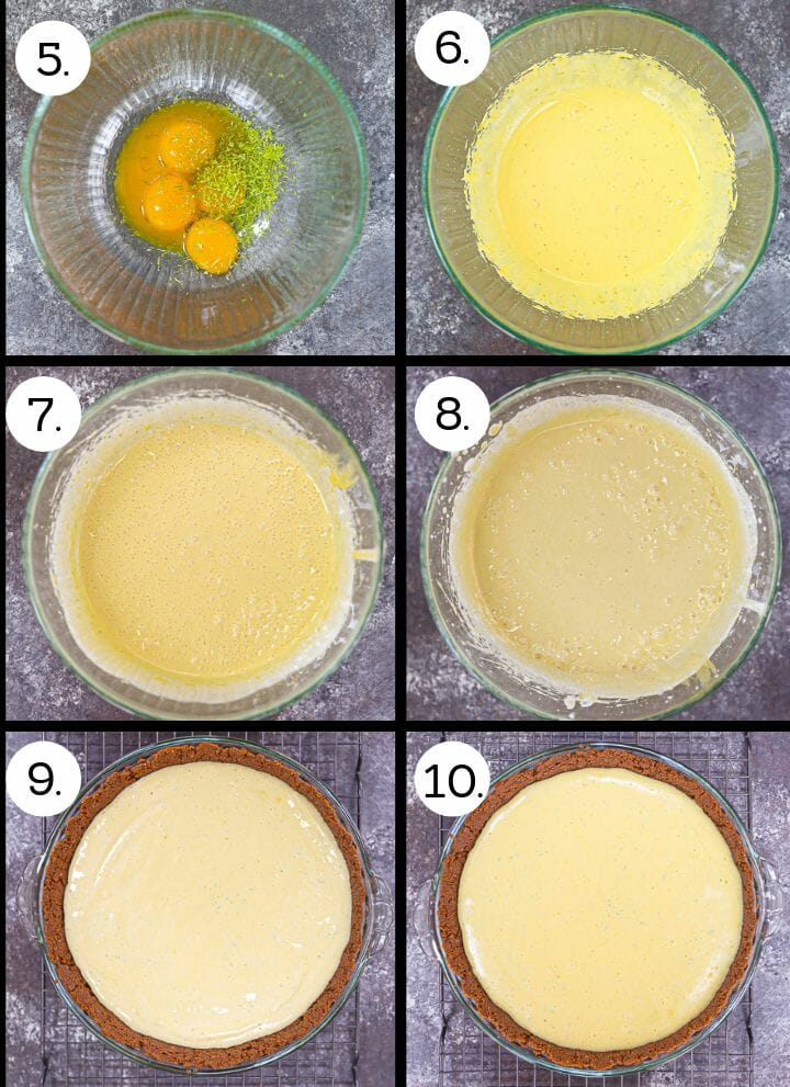 Step by step photos of how to make My Favorite Key Lime Pie. Combine eggs with lime zest (5), whisk until thick (6), beat in the condensed milk (7), whisk in the lime juice (8), pour into prepared crust (9). bake until set (10).