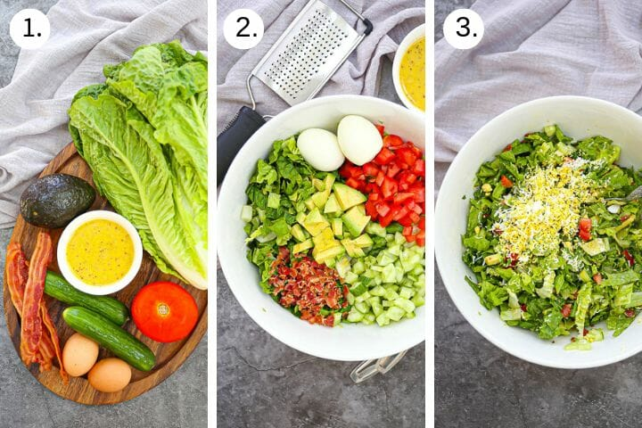 Step by step photos showing how to make Chopped BLT Breakfast Salad. Gather ingredients (1), chop ingredients (2), Mix and grate eggs over the top (3).