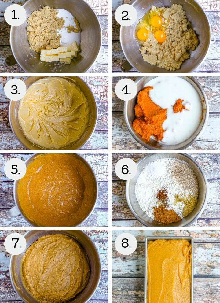Step by step photos showing how to make the best pumpkin bread. Cream butter and sugars (1), add the eggs (2), beat well (3), combine pumpkin and buttermilk (4), add the pumpkin mixture (5), combine the dry ingredients in a separate bowl (6), beat together (7), smooth in a loaf pan (8).