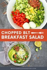 Ready to up your breakfast game? This chopped BLT breakfast salad (yes salad!) combines classic BLT sandwich flavors and pairs them with greens to give your morning a boost.