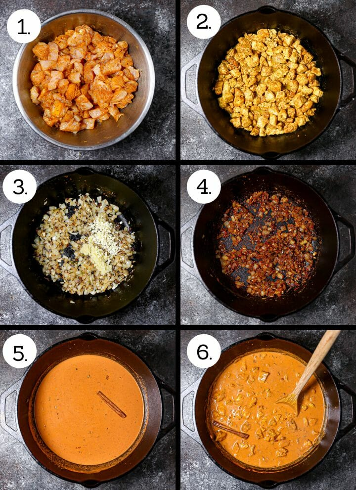 Step by step photo showing how to make Easy Butter Chicken. Toss the chicken cubes with spices (1), cook the chicken (2), saute the onion, garlic and ginger (3), add the spices and tomato paste (4), add the remaining ingredients (5), stir in the cooked chicken (6).