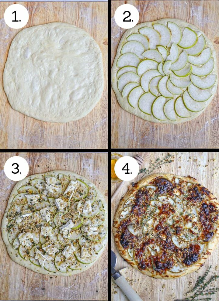 Step by step phots showing how to make Pear and Brie Pizza. Stretch the dough into a round (1), arrange the sliced pears (2), top with remaining ingredients (3), bake until golden brown and bubbling (4).