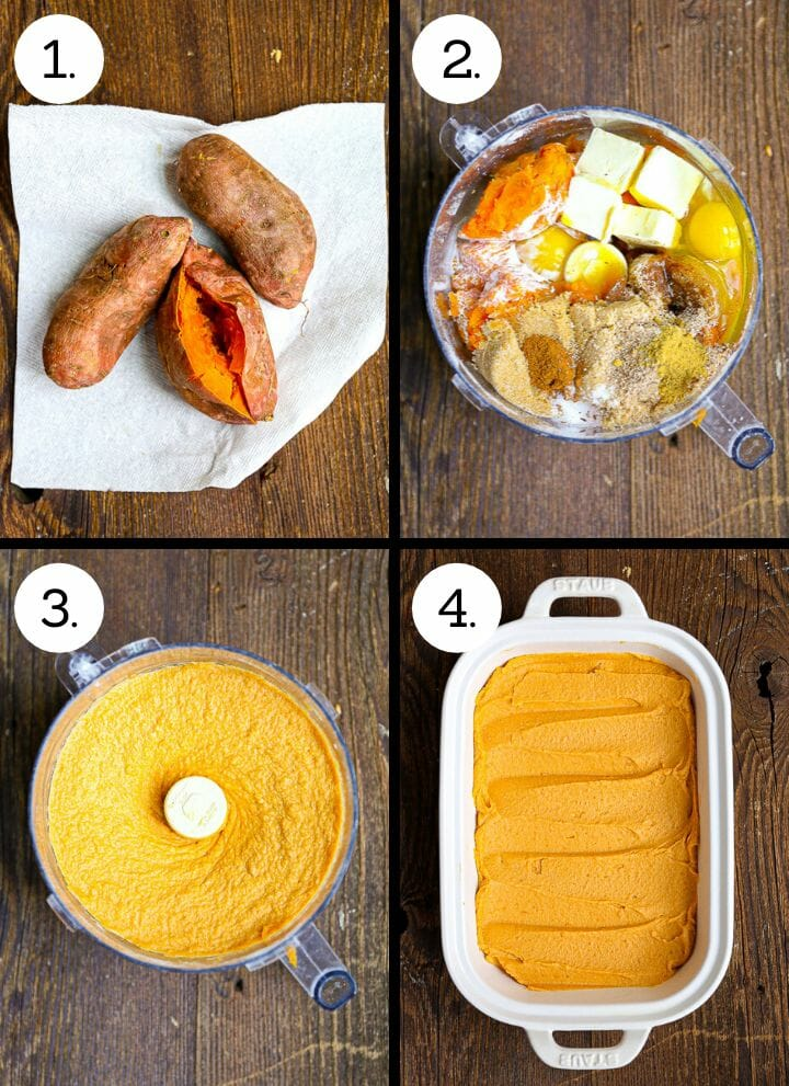 Step by step photos showing how to make Sweet Potato Soufflé. Cook sweet potatoes (1), gather ingredients for sweet potato filling in food processor (2), process until smooth (3), spread in caking dish (4).